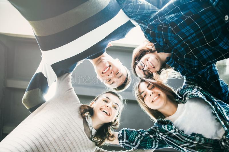 Group of Friends Making a Circle, Teenage Solidarity Concept royalty free stock photos