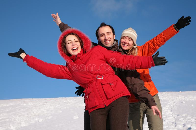 Group of friends move by hands royalty free stock photos