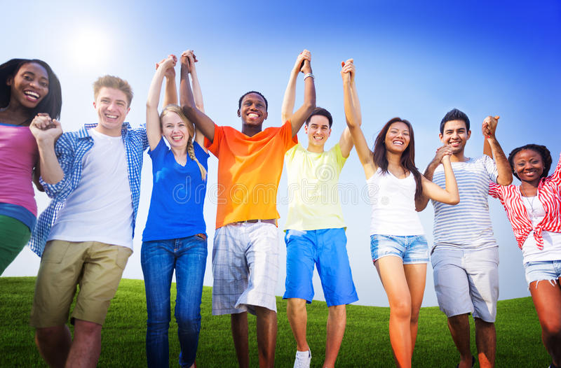 Group Friends Outdoors Celebration Winning Victory Fun Concept stock images
