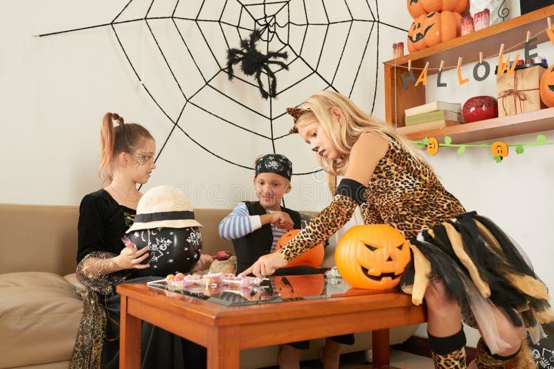 Children celebrating Halloween royalty free stock photos