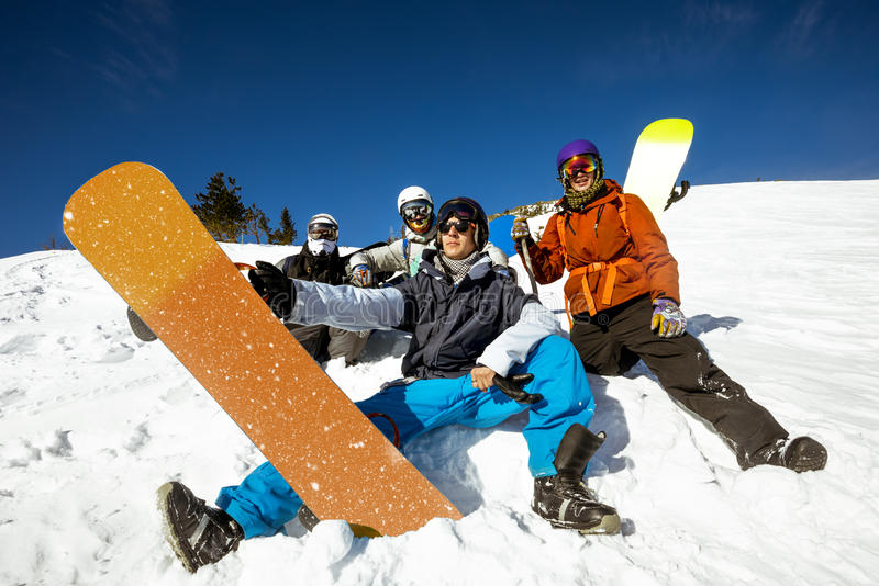 Group friends snowboarders snowboarding team stock photos