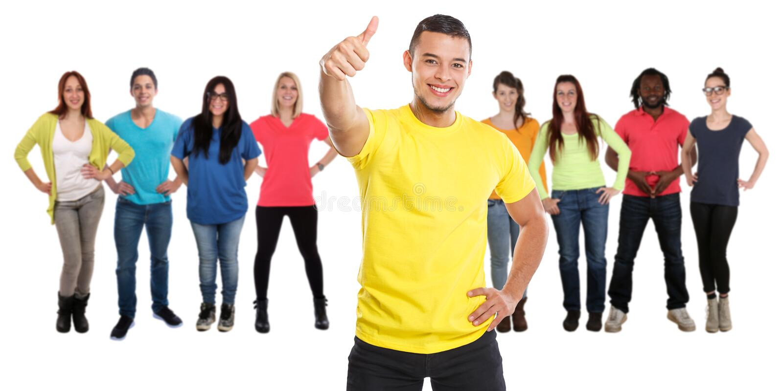 Group of friends success thumbs up successful young people isolated on white stock photo