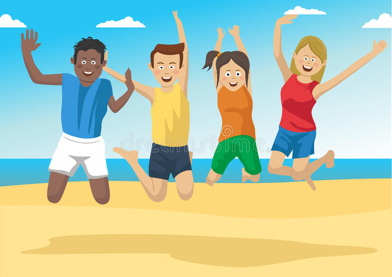 Group of friends together jumping on the beach vector illustration