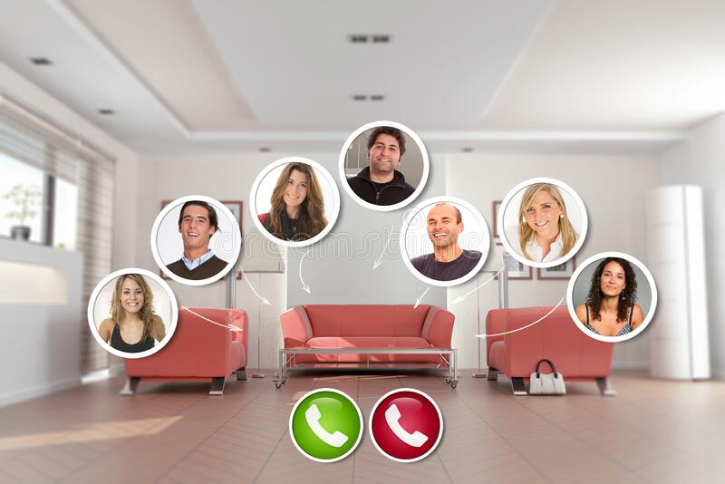 Virtual Hanging out from home royalty free stock photography
