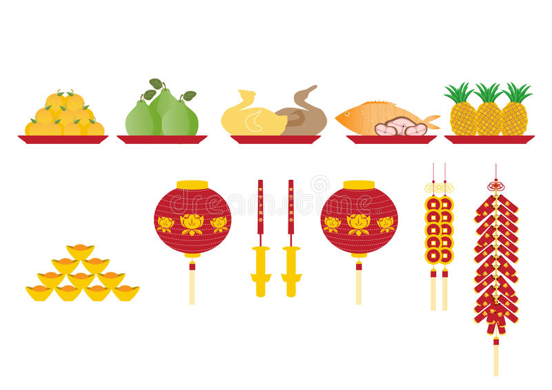 Group of fruit are sacrificial offering,Chinese new year. Group of fruit are sacrificial offering royalty free illustration
