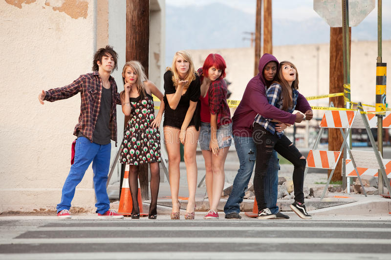 Group of fun loving punky teens royalty free stock photo