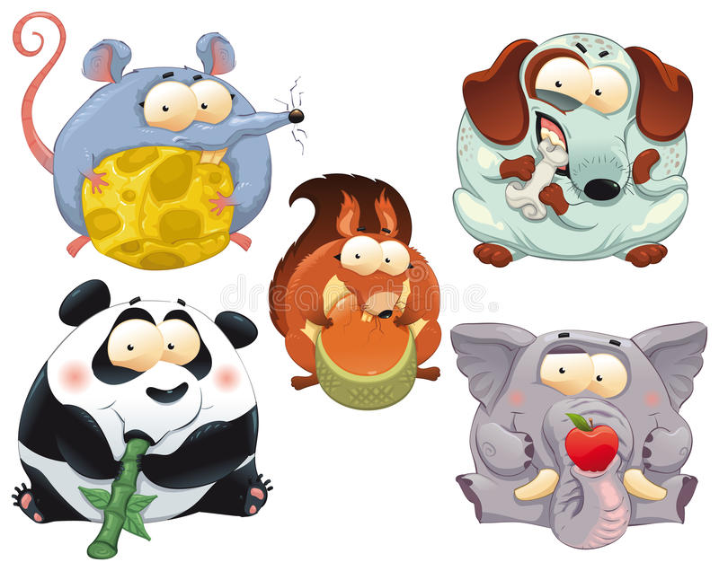 Download Group Of Funny Animals With Food. Stock Vector - Image: 18733014