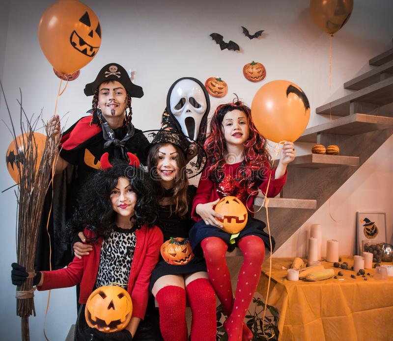 Kids in Halloween party stock photography