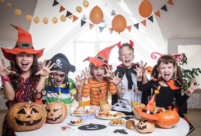 Kids in Halloween party stock photo