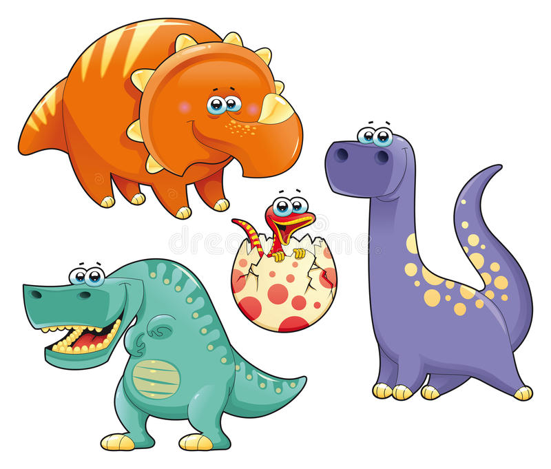 Group of funny dinosaurs. stock illustration