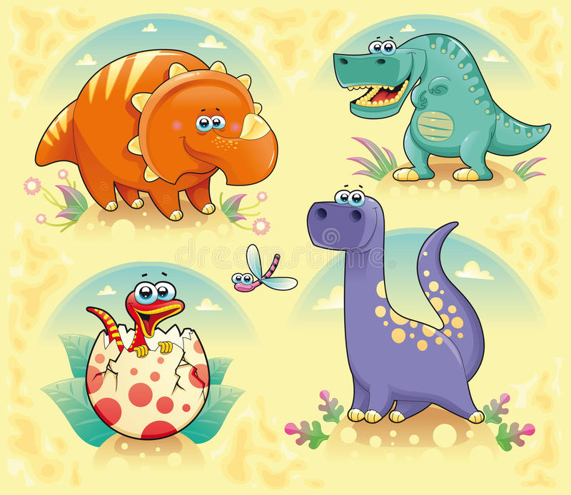 Group of funny dinosaurs vector illustration