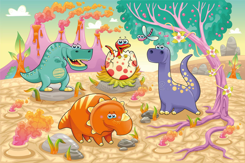 Group of funny dinosaurs in a prehistoric landscap stock illustration