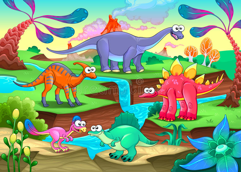 Group of funny dinosaurs in a prehistoric landscape vector illustration