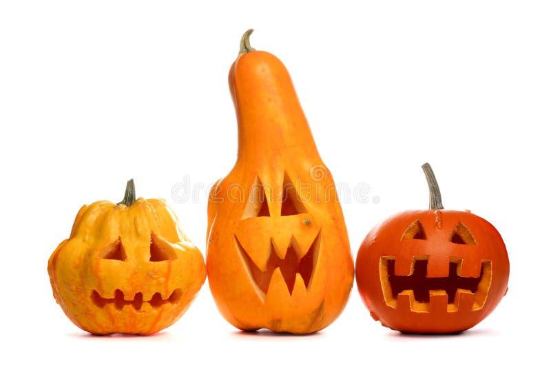 Funny Halloween Jack o Lanterns isolated on white stock image