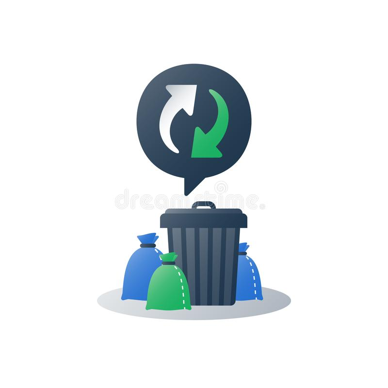 Pile of rubbish and container, group of garbage bags around can, litter collection, recycle program arrows, utilization concept. Group of garbage bags around can royalty free illustration