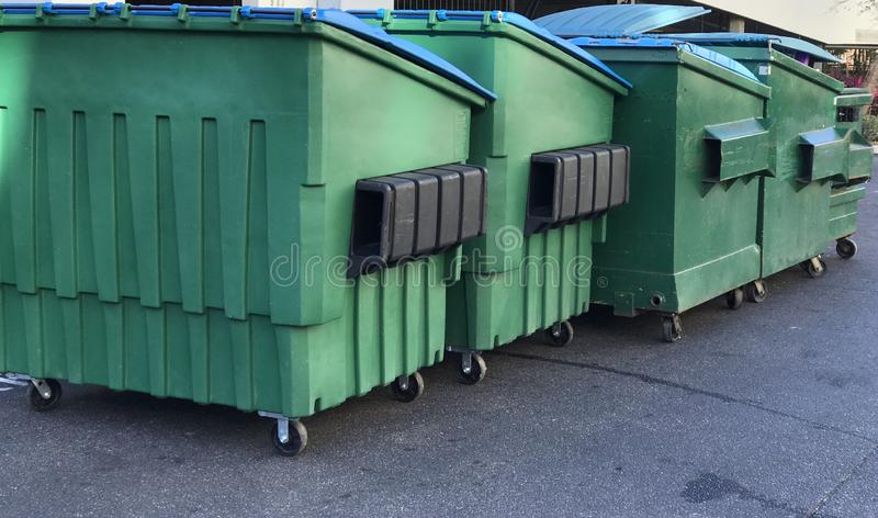 Group of Garbage Dumpsters. Photo image royalty free stock photo