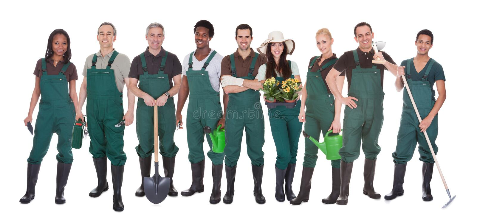 Group of gardener workers. Group Of Multi Racial Gardener Workers Standing Over White Background royalty free stock photo