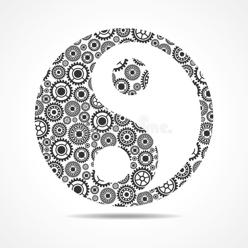 Group of gear make ying and yang symbol vector illustration