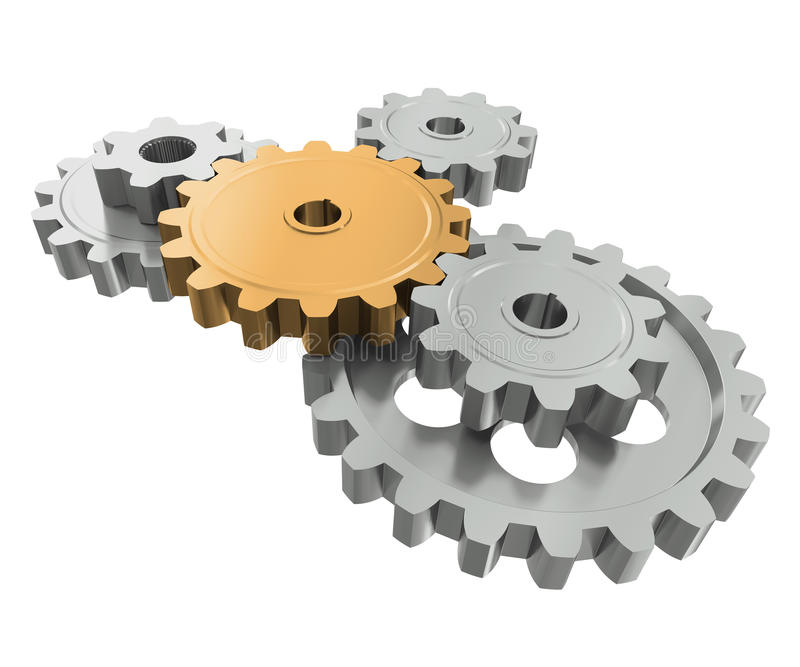 Group gears. Symbol leader in team work vector illustration