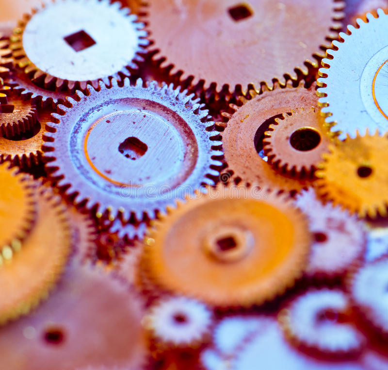 Group gears from watches royalty free stock photos