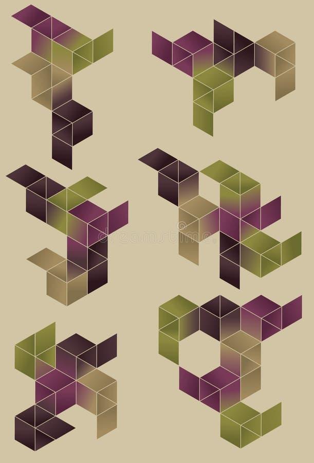 Group of geometric design elements. royalty free illustration