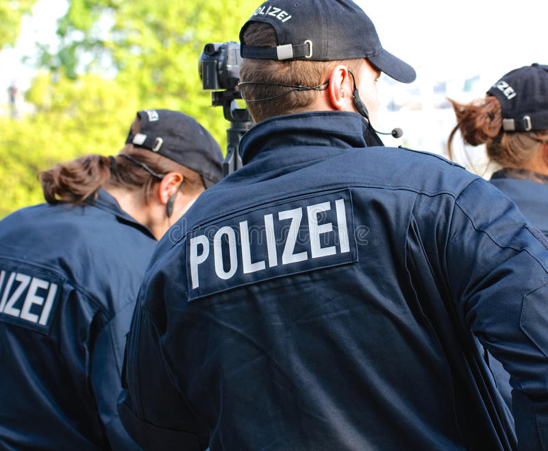Group of German Police from Behind stock photography