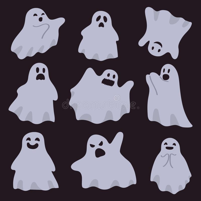 A group of ghosts isolated on a dark background. Halloween characters. Vector illustration in cartoon royalty free illustration