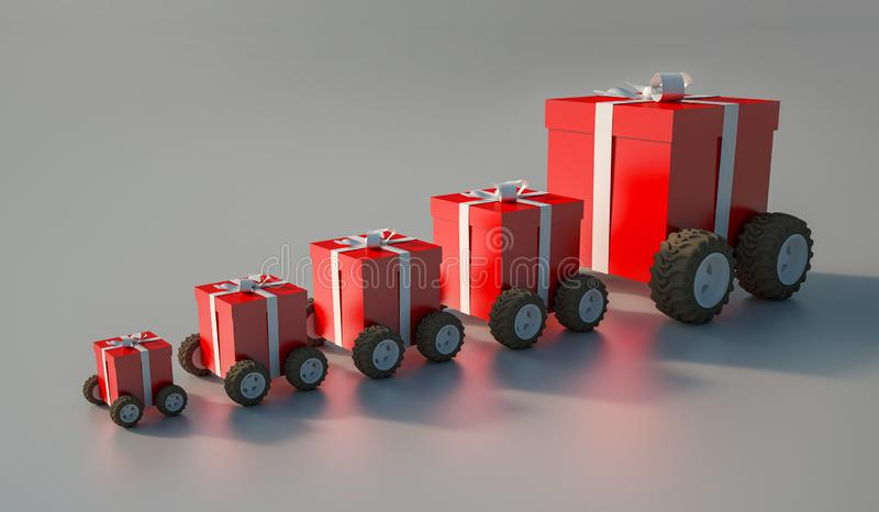group of gift boxes with wheels royalty free illustration