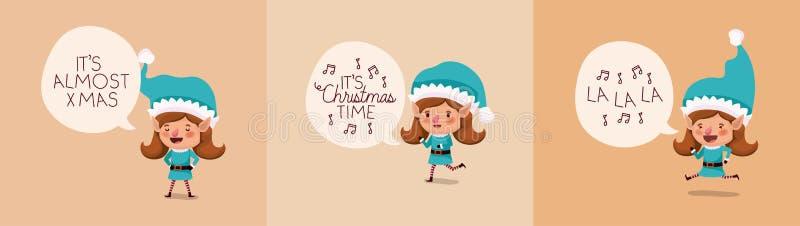 Group of girl santa helpers with speech bubbles. Vector illustration design vector illustration