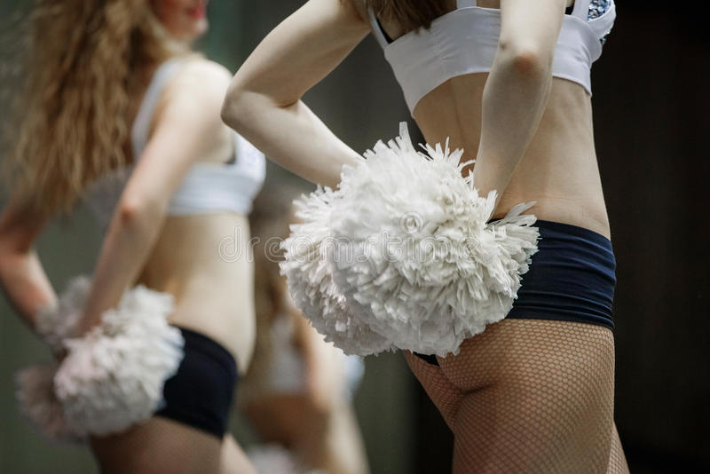 Group of girls cheerleaders stock photos