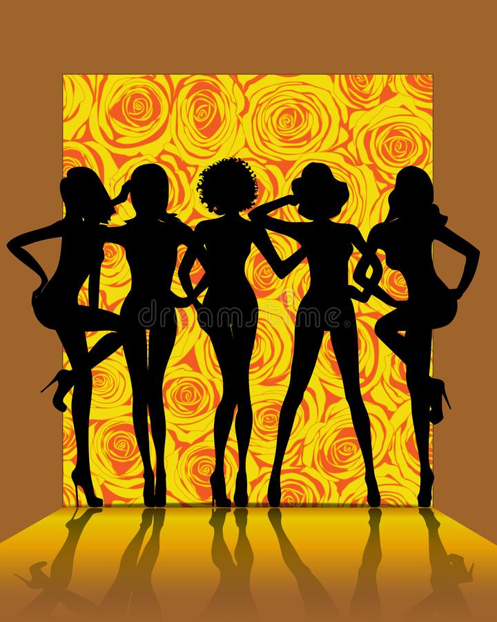 Group of girls combined silhouette on the catwalk fashion royalty free illustration