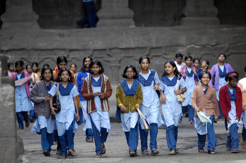 Group of girls at Ellora, India stock photography