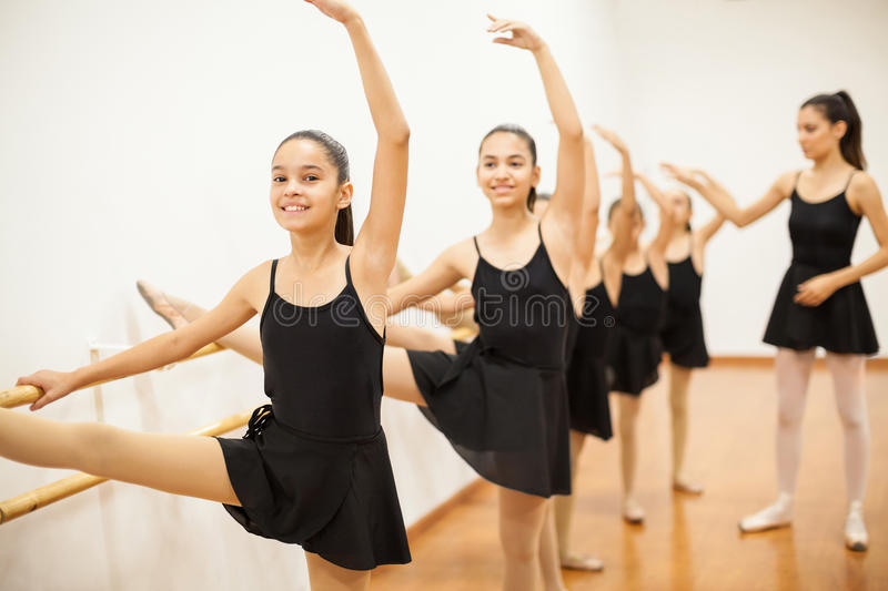 Group of girls in a real ballet class royalty free stock photos