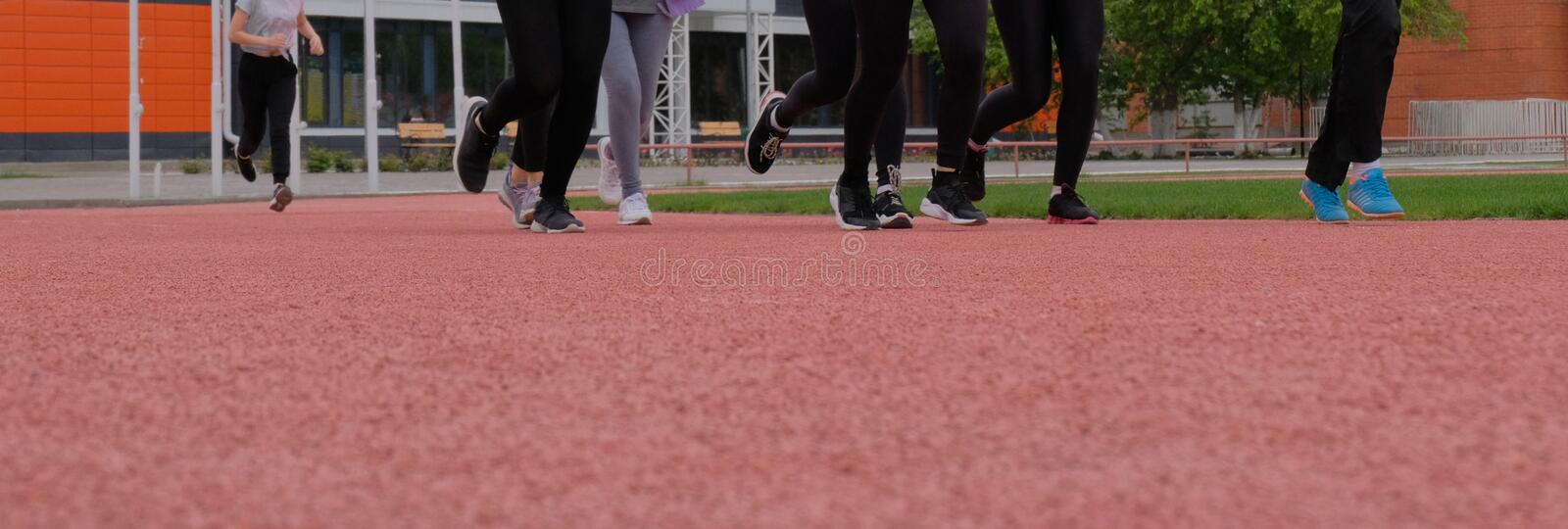 A group of girls runs along the pink path. Women`s legs in sneakers. Sports theme. Bottom point. Copy space. A blank for the royalty free stock photography