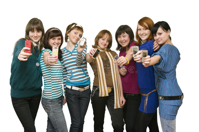 Download Group Of The Girls Showing Mobile Phones Stock Photo - Image of  cheerful, beauty