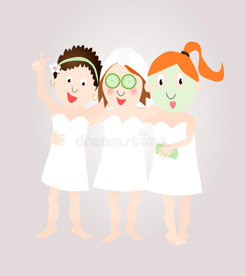 Group girls in spa / wellness centre. Group girls / women friends with facial treatment in spa / wellness centre vector illustration