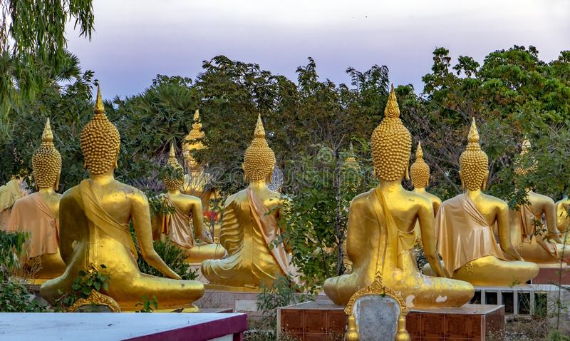 Sunset at the Buddhist temple. A group of golden Buddha statues at the Buddhist Cemetery. Sunset at the Buddhist temple Wat Phai Rong Wua,Thailand stock photography