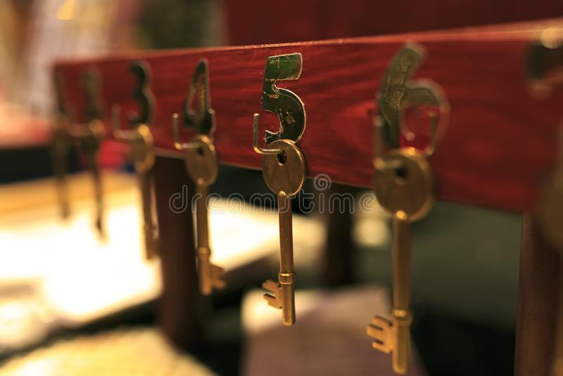 Group of hotel keys royalty free stock photo