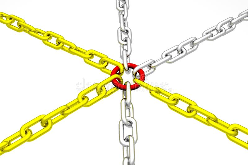 Group of Golden and Silver Chain with red link
