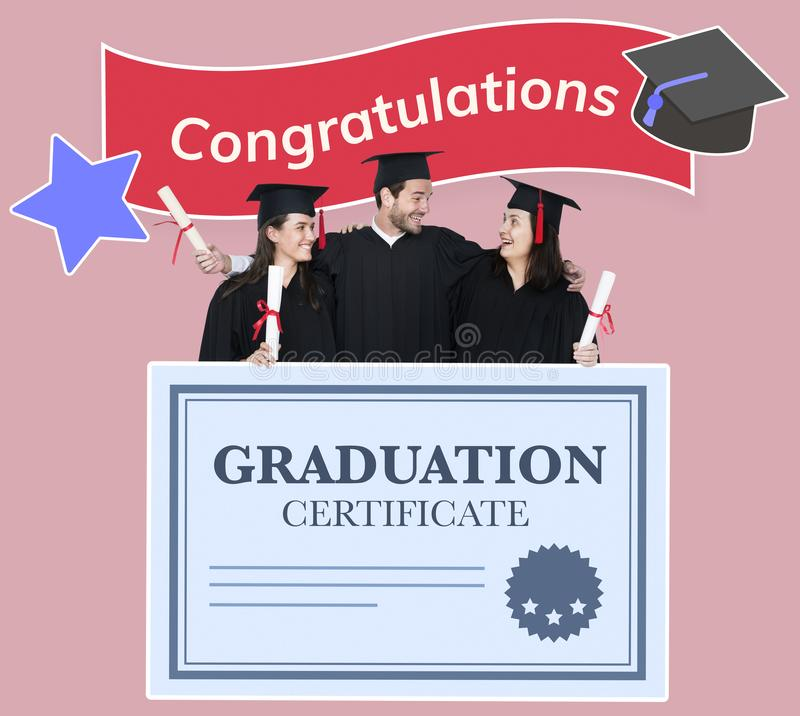 Group of grads in cap and gown with graduation certificate royalty free stock image