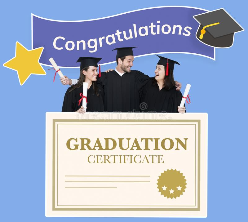Group of grads in cap and gown with graduation certificate stock images