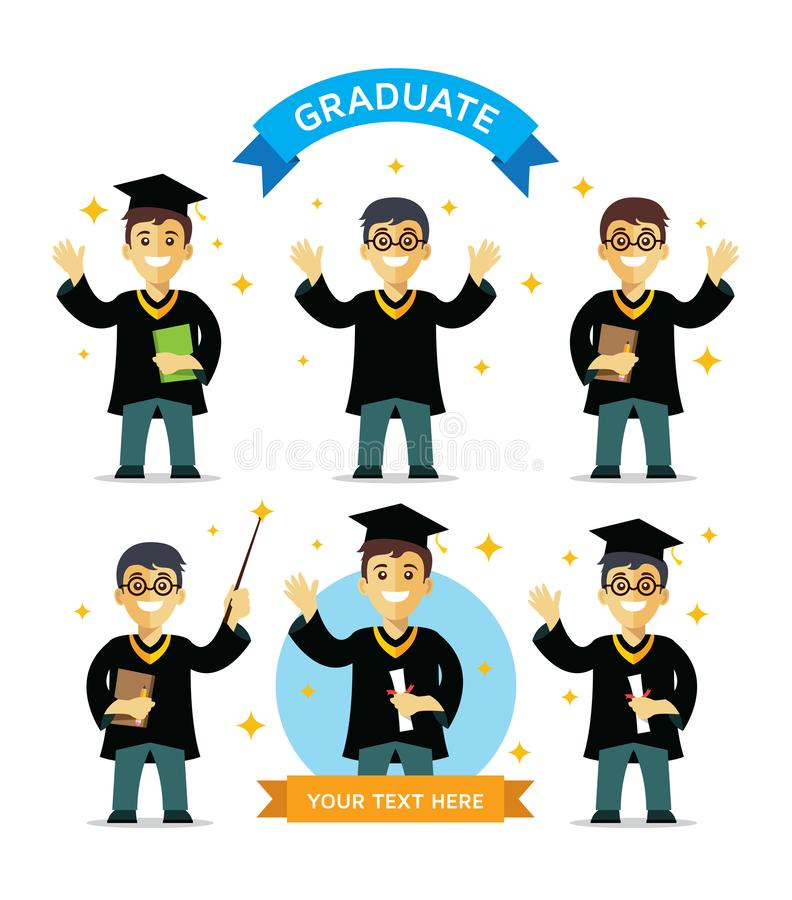 Group of graduate students royalty free illustration