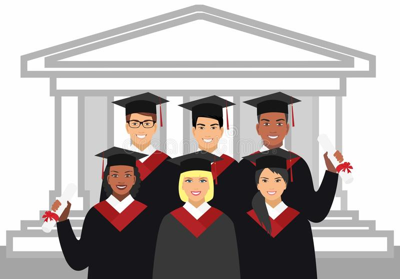 A group of graduates of different nationalities in gown graduate on the background royalty free illustration