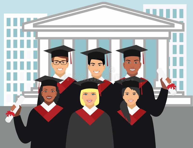 A group of graduates of different nationalities in gown graduate on the background of the university royalty free illustration