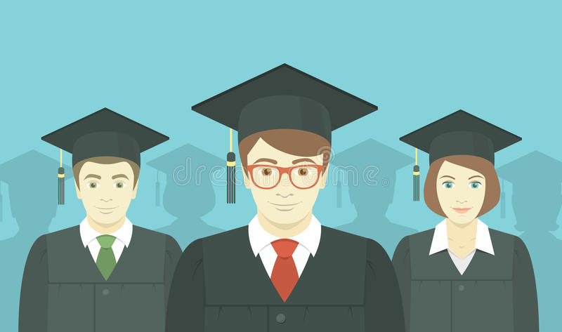 Group of Graduates stock illustration