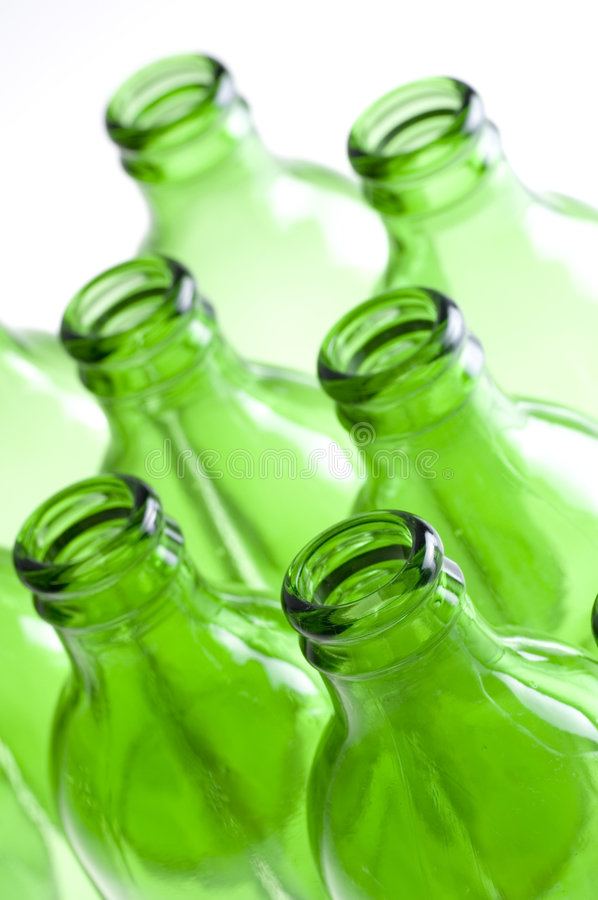 A group of Green beer bottles stock photos