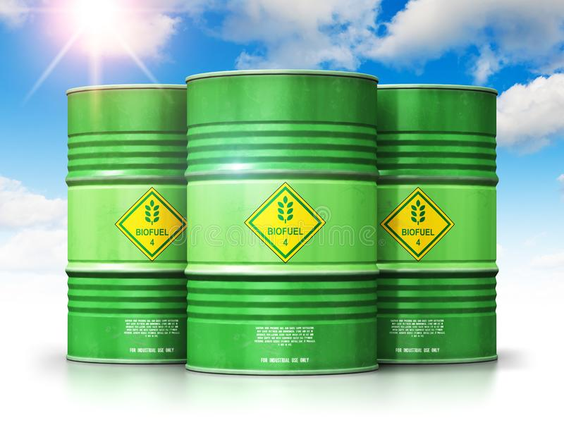 Group of green biofuel drums against blue sky with clouds and sun light royalty free illustration