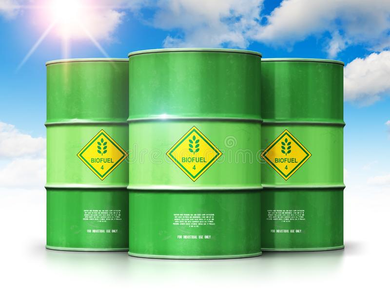 Group of green biofuel drums against blue sky with clouds and sun light stock illustration