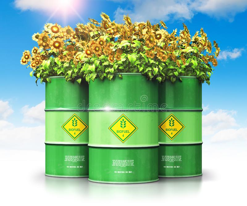 Group of green biofuel drums with sunflowers against blue sky wi vector illustration
