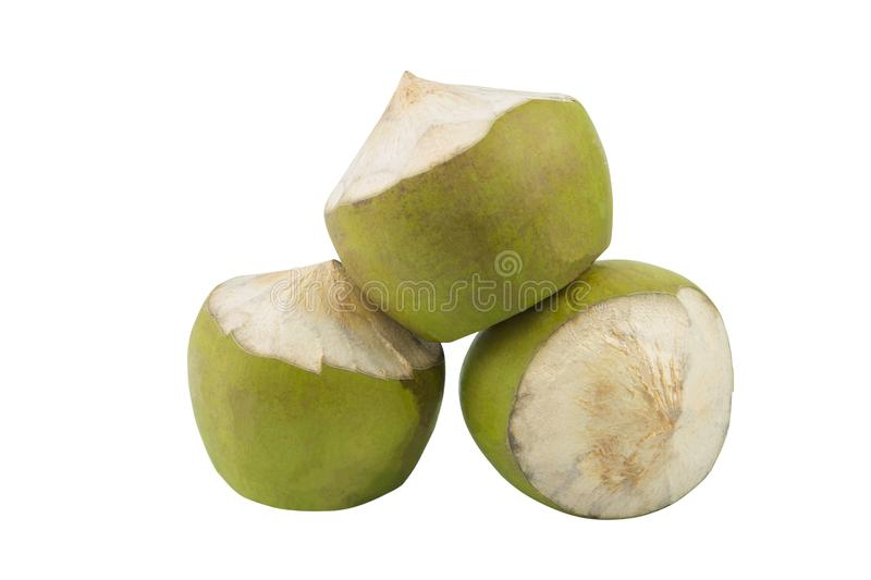 Group of green coconut fruit isolated royalty free stock photo